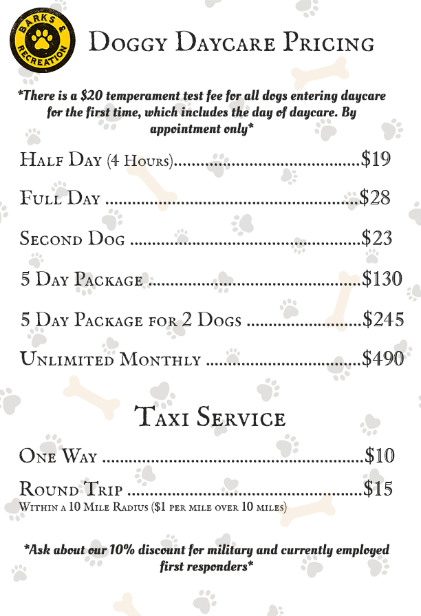 Barks & Recreation - Dog Daycare Price List