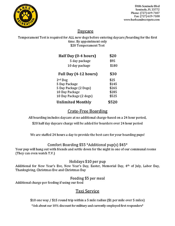 Pricing for Boarding & Doggy Daycare - Updated September 2021